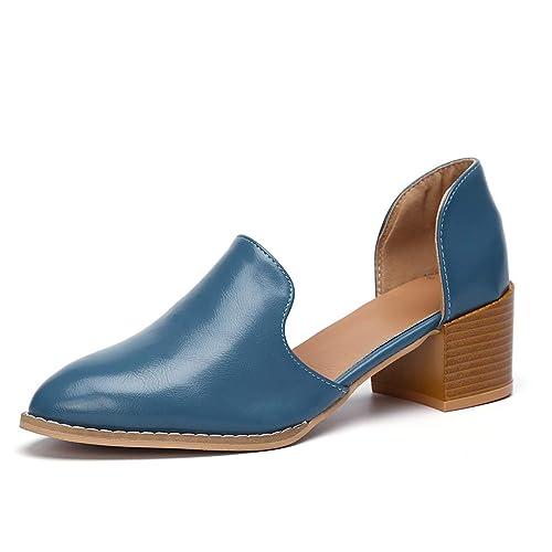 Mokassins Damen Heels Leder Pumps Loafer Blockabsatz 5cm Sommer Low Top Ankle Schuhe Elegante Vintage Flats Bequem Schwarz Blau Gr.35 43