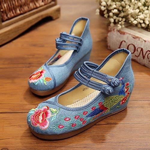 Fuxitoggo Bestickte Schuhe Leinen Sehnensohle Ethno-Stil Frauenschuhe Mode bequem lässig lässig lässig Blau Jeans 39 (Farbe   - Größe   -) 8a20b2