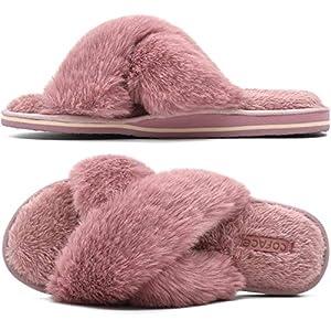 COFACE Womens Fur Sliders Ladi...