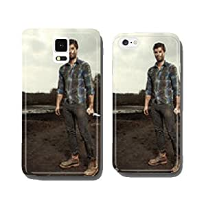 Man in wild nature on run cell phone cover case Samsung S5