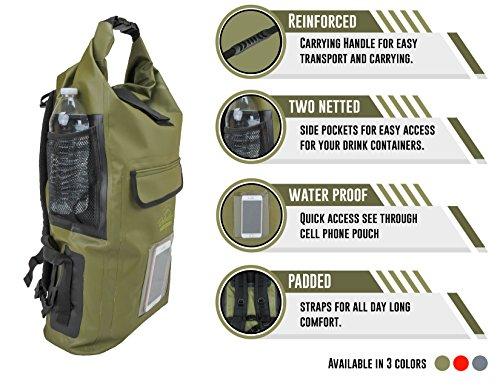 Relentless Recreation Dry Bag Backpack | 30L Waterproof - 500D PVC Tarpaulin | Splash Proof Cell Phone Pocket | Rolltop Drybag for Kayaking, Boating, Hiking, Camping, Fishing & More | Olive Green