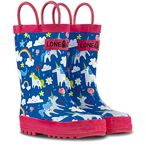 LONECONE Rain Boots with Easy-On Handles in Fun Patterns for Toddlers and Kids, Gary The Unicorn, Toddler 6 -