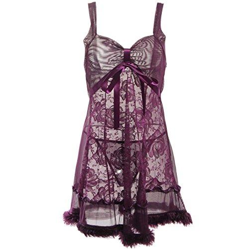 Notte Mesh Pigiami Purple Lace Ganci Esterno Da Dei Sottile Pannello Un Onorevoli Formato Biancheria aS8w0aqd