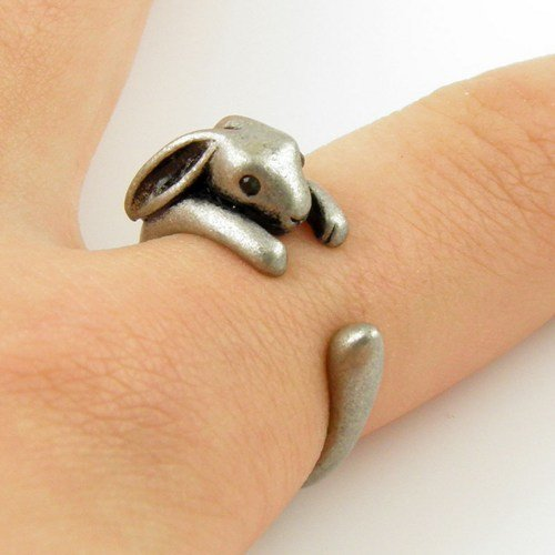 Bunny Animal Wrap Ring - Silver for Women -