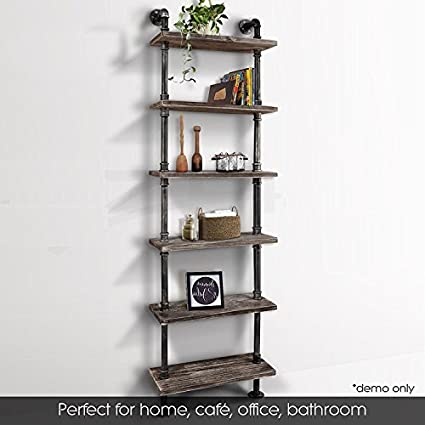 Industrial 6 Tiers Modern Ladder Shelf Bookcase Wood Storage ShelfDisplay Shelving