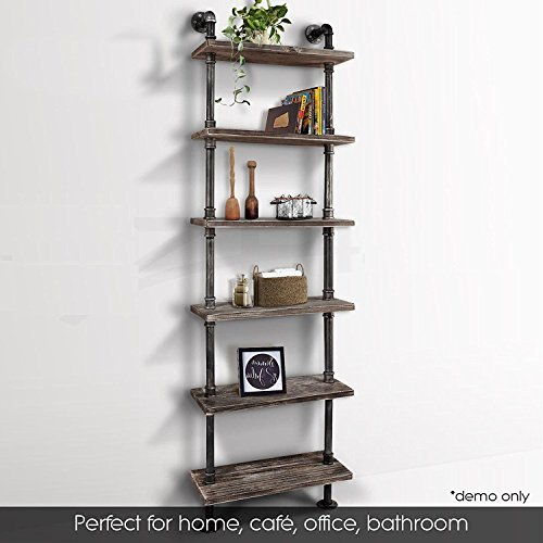 Industrial 6-Tiers Modern Ladder Shelf Bookcase ,Wood Storage Shelf,Display Shelving, Wall Mounted Wood Shelves, Metal Wood Shelves Bookshelf Vintage Wrought Iron Finish