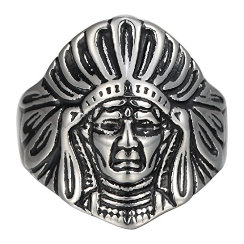 Men's Stainless Steel Vintage Large Tribal leader Native American Indian Chief Head Ring with Feather Headdress (11) ()