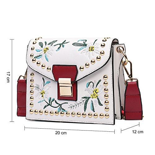 BYD mujeres Mini bolsa de hombro Bolso de monedero de mensajero de leather bolso de hombro de moda de vendimia mujeres bolsa de patrón de bordado blanco