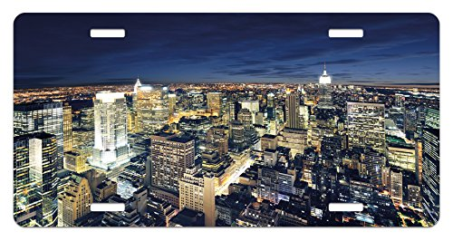 Urban License Plate by Ambesonne, Modern Cityscape After Sunset Manhattan New York USA Architectural View, High Gloss Aluminum Novelty Plate, 5.88 L X 11.88 W Inches, Yellow Tan Dark Blue (Usa Architectural)