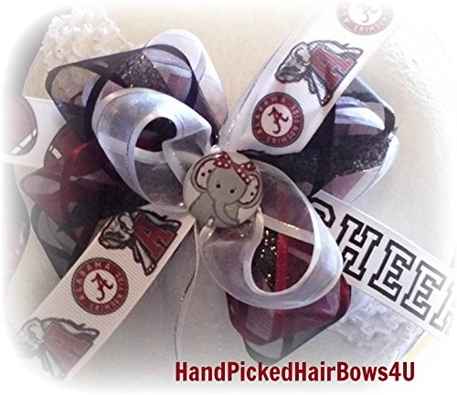 ALABAMA College Football HAIR BOWS Infant Toddler Little Girls hairbows Made for dress jeans outfits sets Cheer shirts Tutu BAMA