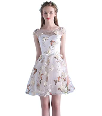Drasawee Juniors Short Chiffon Prom Party Homecoming Dresses Swweet Floral Evening Cocktail Gowns Champagne UK4