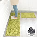 kitchen floor mat green - Wolala Home 2 pcs Sets Strong Absorbent Non-slip Kitchen Rug and Carpet Super Soft Chenille Shaggy Latex Backing Solid Home Decorator Floor Mats (16''x24''+16''x47'', Green)