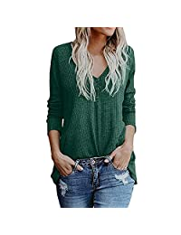 Twinsmall Womens Henley Shirts Long Sleeve Loose V Neck Button Down Front Knot Waffle Knit Tunic Tops