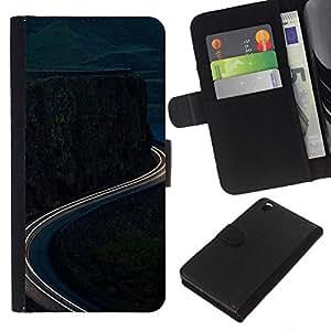 For HTC DESIRE 816 Case , Time-Lapse Mountain Road Free - la tarjeta de Crédito Slots PU Funda de cuero Monedero caso cubierta de piel