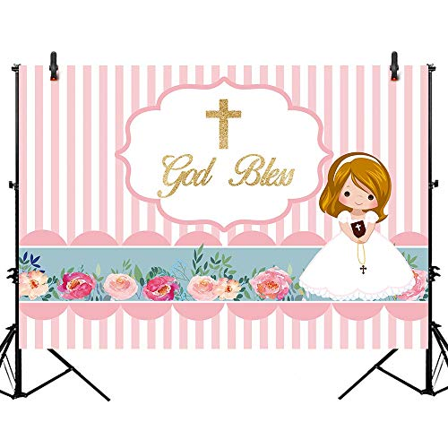 Allenjoy 7x5ft First Communion Baptism Backdrop God Bless Infant Newborn Girl Princess Baby Shower Christening Photography Background Pink Flowers Cake Dessert Table Decors Photo Studio Booth