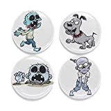 "Buttonsmith Zombies Magnet Set - Set of 4 1.25"" Magnets - Made in the USA"