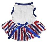 Petitebella Puppy Clothes Dog Dress Plain Blue White Top RWB Stripes Tutu (Medium)