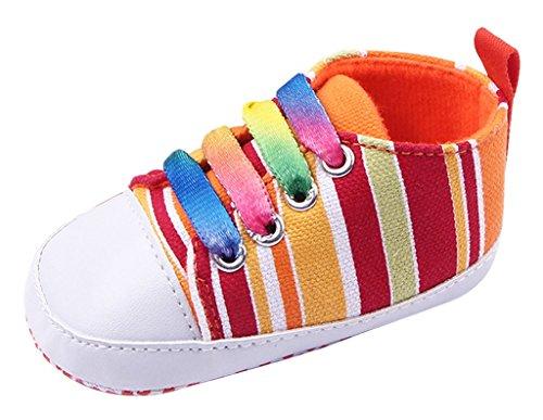 La vogue Primeros Zapatos de Lona Para Bebé Recién Nacido Unisexs Camuflaje Colores Arco Iris #1,Longitud Suela 11cm