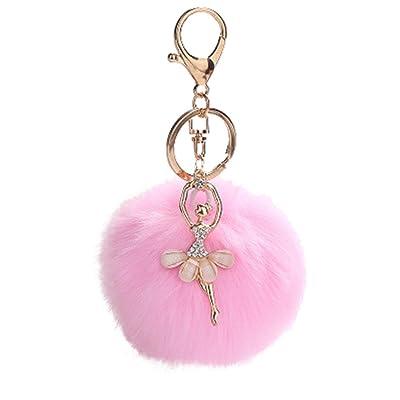 Porte-clés, Moonuy mignonnes de danse d'ange porte-clés pendentif porte-clés porte porte-clés pompons porte-clés porte-clés, chaîne de téléphone cellulaire, sac pe