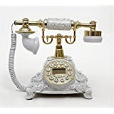 DU&HL Antique Landline Corded Classic Desktop Wired Office Telephone Old Fashioned Antique Style Push Button Dial Desk Telephone Phone Home Living Room Office Decor Great Gifts , white