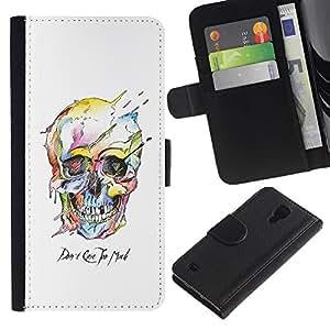 Graphic Case / Wallet Funda Cuero - Watercolor Skull White Death Robot - Samsung Galaxy S4 IV I9500