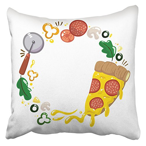 Emvency Decorative Throw Pillow Covers Cases Orange Cheese Pizza Slice Ingredients Cartoon Colorful Design Cook Cooking Cuisine Delicious Diet 16x16 inches Pillowcases Case Cover Cushion Two Sided