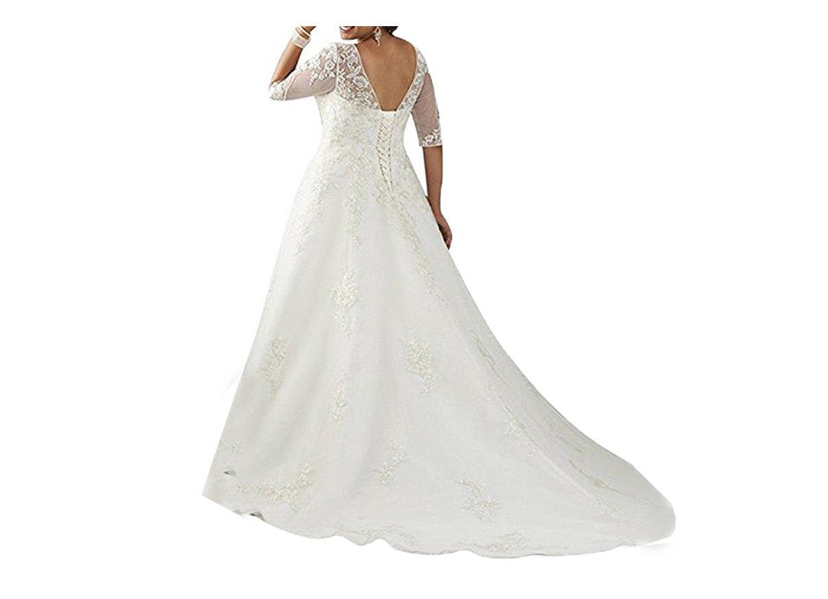 Cloverbridal Damen Hochzeitskleider Halb Aermel Brautkleider ...