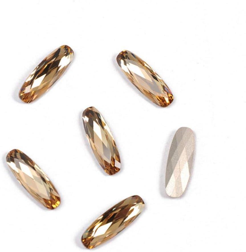 PENVEAT 4161 Diamantes de imitación alargados de Coser Baguette Piedras de Cristal y Cristal DIY Piedras de Strass Cosidas Diamantes de imitación para Coser Ropa, Lt Colorado Topacio, sin Garra