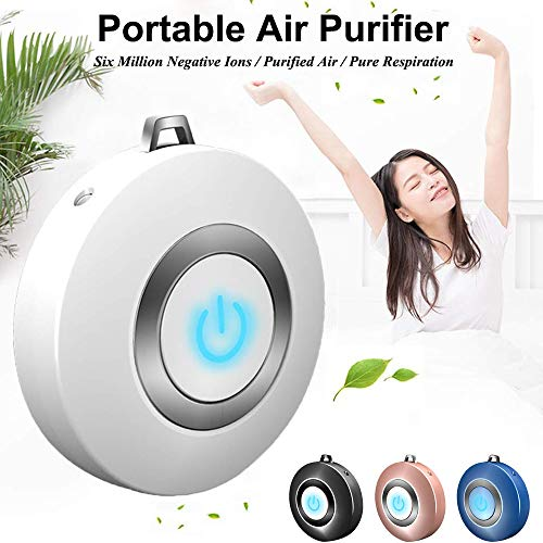 Personal Air Purifier Necklace, USB Portable Air Purifier, Wearable Mini Negative Ion Air Freshener, No Radiation Low Noise for Adults Kids Suitable for Home, Office, Indoor Outdoor
