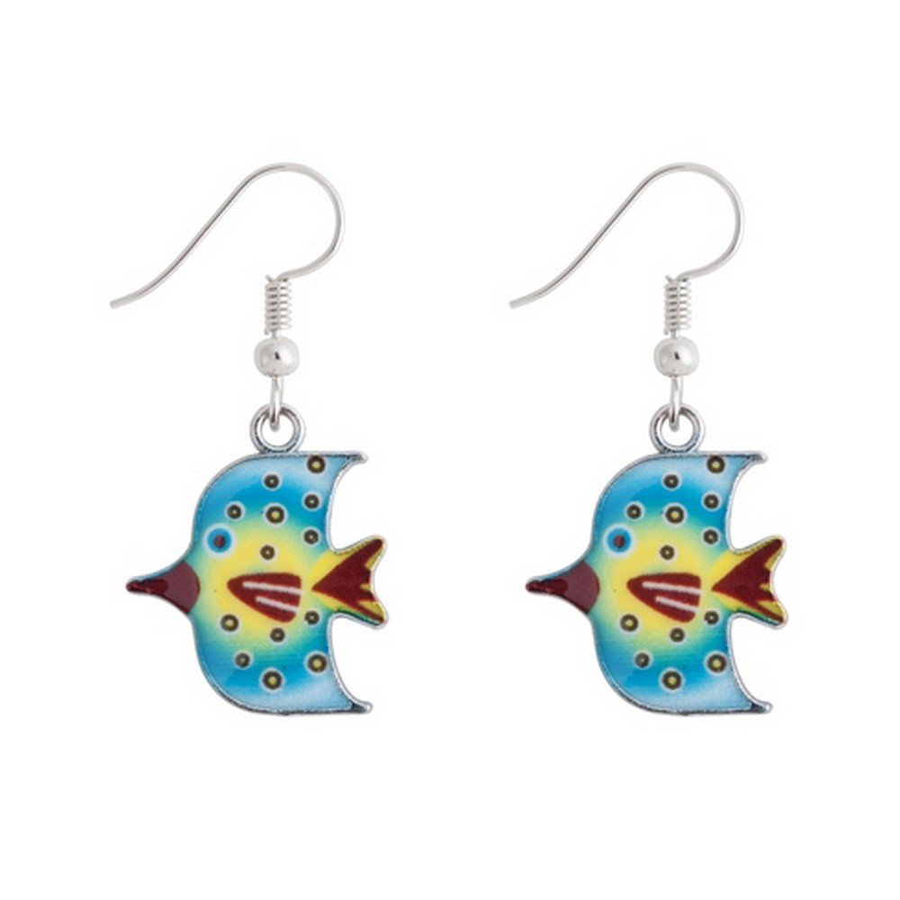 Drop Earring Tropical Fish Made With Enamel /& Tin Alloy by JOE COOL
