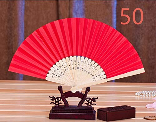 CHU KE Bamboo Folding Fan Handheld Fans Paper Folded Fan for Wedding Party and Home Decoration (Red) (50packs) by CHU KE