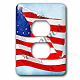 3dRose lsp_56256_6 America Painted Flag Patriotic Art Usa 2 Plug Outlet Cover