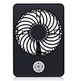 Momoday® Electric Personal Fan Mini Air Conditioner Portable fan Rechargeable Fan 3 Speeds Desktop Summer Cooler Pocket Fan with Rechargeable Battery and USB Cable (Black)