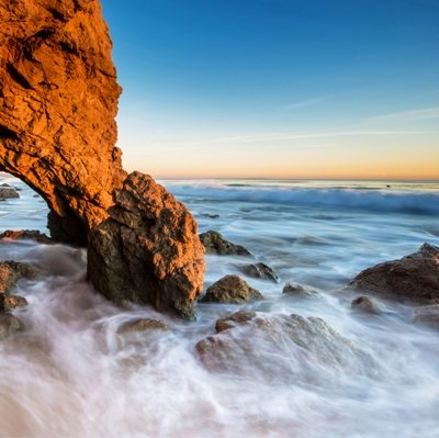 Wieco Art - El Matador Beach Large Modern Gallery Wrapped Contemporary Seascape Blue Giclee Canvas Print Wall Art Pictures Ready to Hang for Bedroom Kitchen Dining Room Home Decor Wall Decorations L (Fine Oil Painting Seascape)