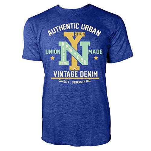Sinus Art ® Herren T Shirt Vintage Garments Denim ( Heather_Blue ) Crewneck Tee with Frontartwork