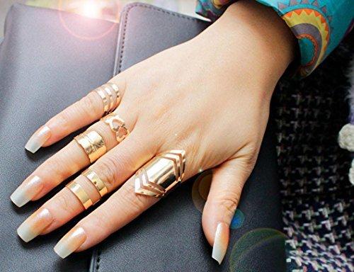 greatfun Mujer Oro Color juego de parte superior de dedo de la punta MIDI dedo por encima del nudillo anillo abierto
