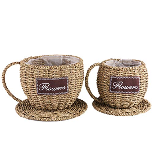 - Vosarea 2pcs Handmade Wicker Flower Pot Personality Teacup Planter Rattan Vase Basket for Home Garden Decor(Grass Color,Large, Small)