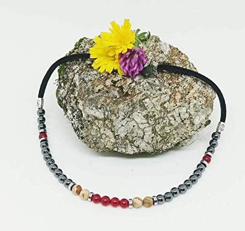 Collar corto de Piedras Naturales, collar corto de mujer, collar Jade Rubí, Jaspe Paisina y Hematita, collar de chica regalo de Navidad.