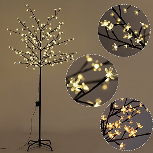 Goplus Cherry Blossom Lighted Tree LED Floor Lamp Warm White for Christmas Tree, Party, Wedding, and Festival Deoration (6FT 160LED) (Floor Plant Tree)