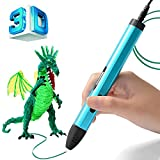 BIHUO 3D Printing Pen, 3D Doodle Pen with OLED Display, Adjustable Low to High Temperature 3D Drawing Pencil with Free PLA Filament for Kids Art & Craft Making, DIY, Drawing etc (Blue)