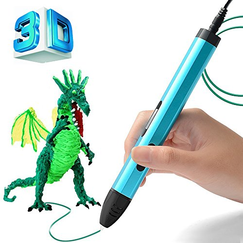 BIHUO 3D Printing Pen, 3D Doodle Pen with OLED Display, Adjustable Low to High Temperature 3D Drawing Pencil with Free PLA Filament for Kids Art & Craft Making, DIY, Drawing etc (Blue) by BIHUO