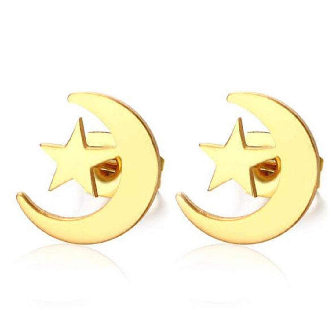High Polished Girls Cute Surgical Steel Moon Star Charm Stud Earrings 18K Gold Plated