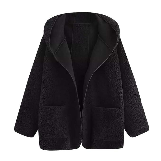 ❤ Abrigo de Felpa de Las Mujeres, Mujeres Ocasionales Gota Hombro Doble Bolsillo con Capucha Abrigo Blusa Outwear Absolute: Amazon.es: Ropa y accesorios