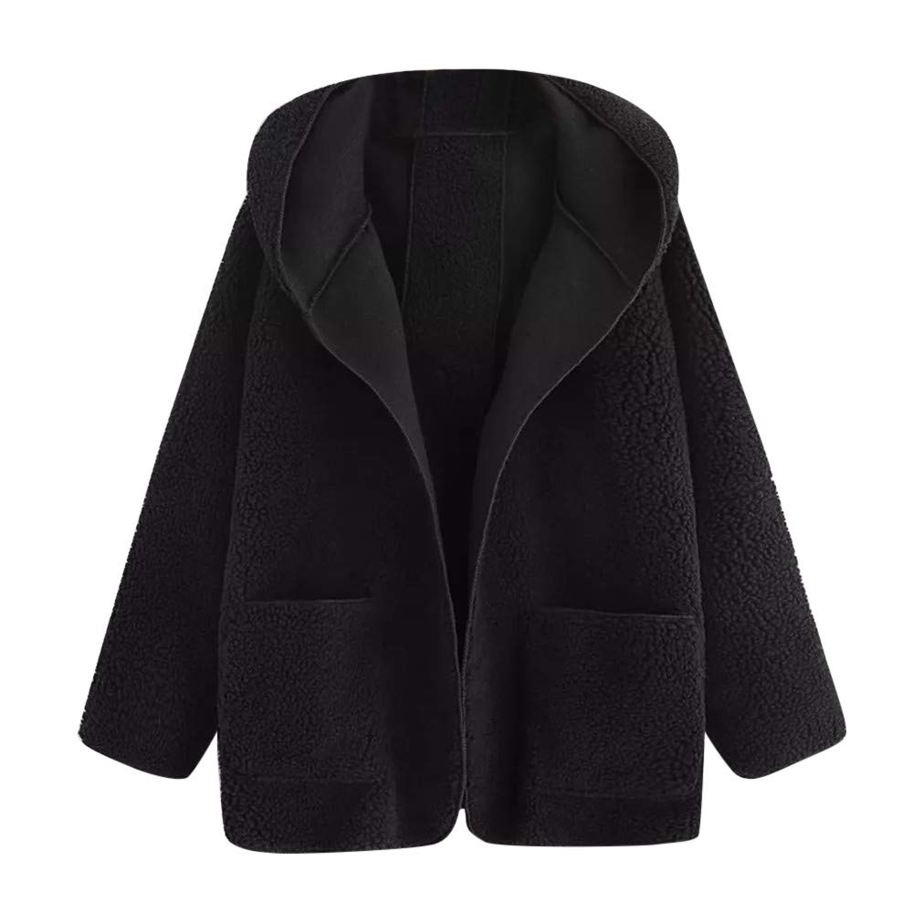 Faionny Women Pockets Jacket Hooded Coat Solid Cardigan Coat Thick Parka Long Sleeve Windbreaker Autumn Winter Outwear