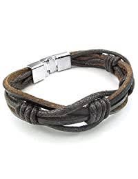 Konov Jewelry Leather Rope Mens Womens Bracelet, Bangle, Brown Silver, with Gift Bag, C24906