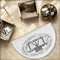 Movie Theater Semicircle Doormat Film Festival Grungy Round Stamp with an Antique Projection Camera Silhouette Halfmoon doormats H 63 xD 94.5 Grey White