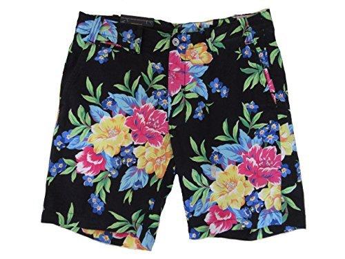 (RALPH LAUREN Polo Mens Straight Fit Linen Blend Shorts Black Floral (36))