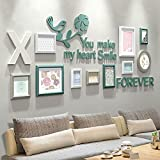 ALUS- 10 Multi Photo Frames Set Simple Nordic Style Creative Dining Room Bedroom Wall Photo Picture Wall Frame ( Color : #A )