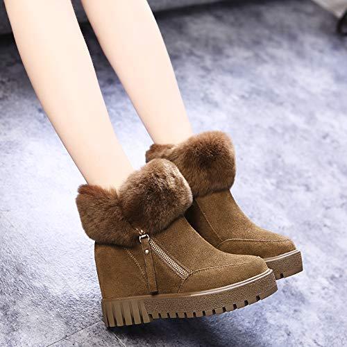 La El Pu Zapatos Aumento Gruesa Khaki Mujer Botines Shukun En De Algodón Nieve Cargadores Corto Invierno Plana Botas 5RqXxEwCW
