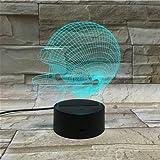 LE3D 3D Optical Illusion Desk Lamp/3D Optical Illusion Night Light, 7 Color LED 3D Lamp, NFL Helmet 3D LED For Kids and Adults, American Football Helmet Light Up